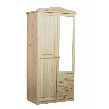 Fruzsi 2 ajtós, 3 fiókos tükrös fenyő szekrény