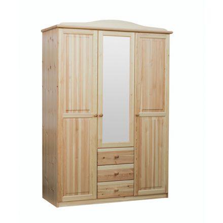 Fruzsi 3 ajtós, 3 fiókos, középen tükrös fenyő szekrény