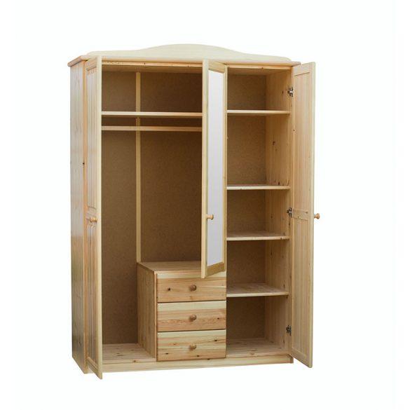 Fruzsi 3 ajtós, 3 fiókos, középen tükrös szekrény