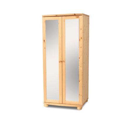Claudia 2 ajtós, teli tükrös, fenyő szekrény (akasztós+polcos)