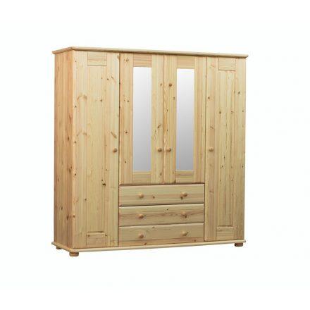 Viktória 4 ajtós, 3 fiókos, középen tükrös fenyő szekrény