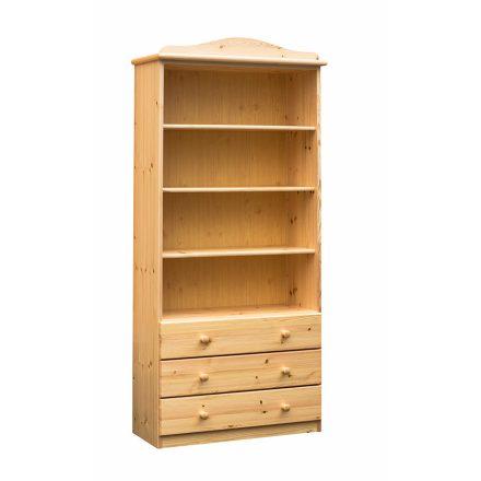 Fruzsi 3 fiókos nyitott fenyő könyves szekrény