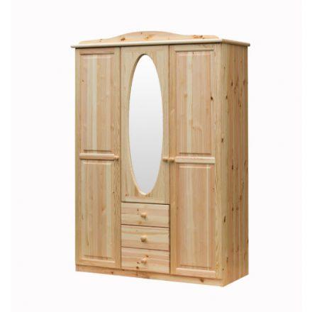 Fruzsi 3 ajtós, 3 fiókos, középen ovál tükrös fenyő szekrény